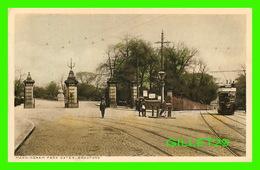 BRADFORD, UK - MANNINGNAM PARK GATES - ANIMATED WITH PEOPLES & TRAMWAY - - Bradford