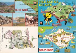 Isle Of Wight Treasure Island Stick Of Rock Map Comic 4x Postcard S - Humor