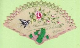 CELLULOID - EVENTAIL Peint à La Main Avec Hirondelle Et Roses -  2 Scans - Fantaisies