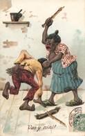 Fantaisie Cpa Carte Gaufrée Embossed Couple Homme Battu Vas Y Nini Femme Tapant Son Mari Negre Negro Fessée - Autres