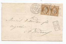 "- SEINE - PARIS Etoile 16s/Paire Napoleon III N°21 Bistre + Càd T.17 + ""APRES LE DEPART"" - 1863 - 1862 Napoleon III"