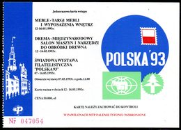 POLAND 1993 POLSKA '93 INTERNATIONAL WORLD PHILATELIC EXHIBITION POZNAN NUMBERED ENTRY TICKET TYPE 1 POSTCARD ON REVERSE - 1944-.... Republic