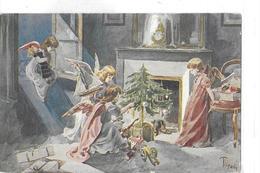 FANTAISIE  NOEL   SAPIN   ANGES  ENFANT DEVANT CHEMINEE JOUETS  ILLUSTRATEUR TOFANI  COULEURS - Noël