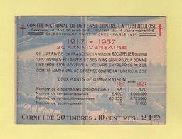 Carnet De 1937 - Comite National De Defense Contre La Tuberculose - Antituberculeux