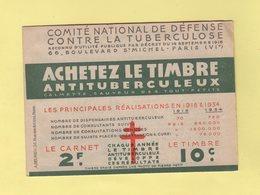 Carnet De 1934 - Comite National De Defense Contre La Tuberculose - Antituberculeux