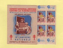 Carnet 19eme Campagne Nationale Contre La Tuberculose - 1949 - Antituberculeux