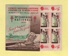Carnet 20eme Campagne Nationale Contre La Tuberculose - 1950 - Antituberculeux