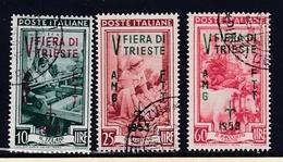 1953 Italia Italy Trieste A  FIERA Di TRIESTE Serie Di 3 Valori USATA USED - 7. Triest