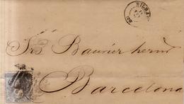 Año 1870 Edifil 107 50m Sellos Efigie Carta  Matasellos Rejilla Cifra 20 Bilbao Membrete Godo Hermanos - 1868-70 Gobierno Provisional