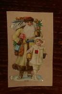 Découpis XIXe. Père Noël Avec Une Petite Fille. - Motivos De Navidad