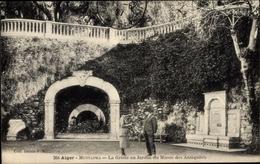 Cp Algier Alger Mustapha Algerien, La Grotte Au Jardin Du Musée Des Antiquités - Algiers