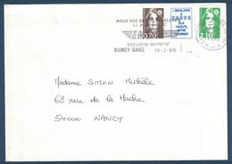 1996 - LETTRE AFFRANCHIE Avec MARIANNE BICENTENAIRE BRIAT N° 2873 + VIGNETTE + 2F10 CAD NANCY GARE - 1989-96 Marianne Du Bicentenaire