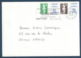 1996 - LETTRE AFFRANCHIE Avec MARIANNE BICENTENAIRE BRIAT N° 2873 70c NON-DENTELÉ + VIGNETTE + 2F10 SECAP NANCY GARE - 1989-96 Marianne Du Bicentenaire