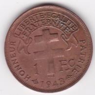 MADAGASCAR. FRANCE LIBRE. 1 Franc 1943. BRONZE - Madagascar