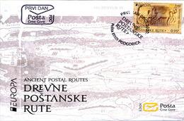2020 FDC, EUROPA, Ancient Postal Routes, Montenegro, MNH - Montenegro