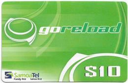Samoa - SamoaTel - Go Reload (Green), 10Tala$, Exp.date 05.10.2008, Used - Samoa