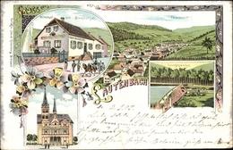Lithographie Lautenbach Elsass Haut Rhin, Wirtschaft Zum Blumenthal, Lauchenweiher, Kirche - Autres Communes