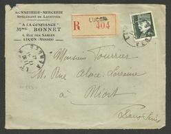 4.50 Petain Taille Douce / ( Devant De Recommandée ) LUCON - VENDEE 17.11.1943 Pour NIORT - 1921-1960: Modern Period