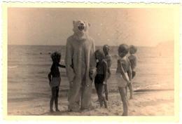 Photo Originale Déguisement & Eisbär Pour Ours Blanc Polaire Entouré D'enfants à La Plage Vers 1950/60 - Anonymous Persons