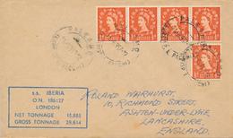 PALERMO  - 1957  ,  Paquebot  -  S.S. IBERIA   - Nach ASHTON-UNDER-LYNE / Lancashire - 1952-.... (Elisabetta II)