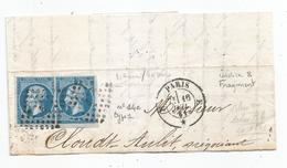 "- SEINE - PARIS - Losange ""E"" S/TPND Type Napoleon III N°14c Type I X2 + Càd Type 17 - 1861 - 1853-1860 Napoléon III"