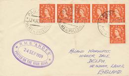 PALMA DE MALLORCA  - 1959  ,  PAQUEBOT -  R.M.S. ANDES  - Nach OLDHAM / Lancashire - 1952-.... (Elisabetta II)