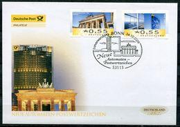 """First Day Cover Germany 2008 Automaten Marken Mi.Nr.6+7 Mit ESST""""Bonn Neue ATM Postwertzeichen"""" 1 FDC - ATM - Frama (vignette)"""