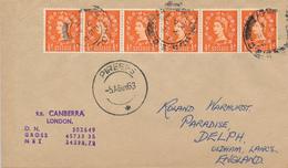 PIREAS  - 1963  ,  Paquebot  -  S.S. CANBERRA   - Nach  Oldham / Lancashire - 1952-.... (Elisabetta II)