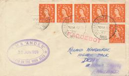 AMSTERDAM  - 1959  ,  PAQUEBOT  -  R.M.S. ANDES   - Nach  Oldham / Lancashire - 1952-.... (Elisabetta II)