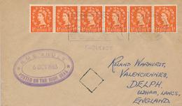 VILLEFRANCE  - 1953  ,  PAQUEBOT  -  R.M.S. ANDES   - Nach  Oldham / Lancashire - 1952-.... (Elisabetta II)