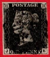 GBR SC #1 U (J,E) 1840 Queen Victoria 4 Margins W/black Cancel CV $320.00 - 1840-1901 (Victoria)
