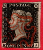 GBR SC #1 U (K,J) 1840 Queen Victoria 2 Margins W/red MC Cancel CV $390.00 - 1840-1901 (Victoria)