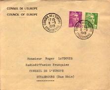 Enveloppe Conseil De L Europe Strasbourg, Tampon De 1949,  Radiodiffusion Francaise  (bon Etat) - Poststempel (Briefe)