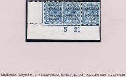 Ireland 1922 Dollard Black 10d Turquoise Control S21 Imperf Corner Strip Of Three Hinged Mint - 1922 Governo Provvisorio