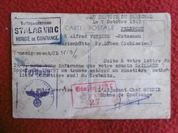 STALAG VIII C ADJUDANT CHEF GUERIN HOMME DE CONFIANCE AU SERVICE DU MARECHAL CACHET 1943 - Franchise Stamps