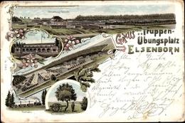 Lithographie Elsenborn Bütgenbach Wallonien Lüttich, Verwaltung, Offizierscasino, Blechhausen, Feldbahn - Belgique