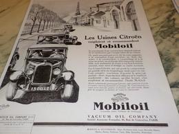ANCIENNE PUBLICITE LES USINES CITROEN EMPLOIENT  HUILE MOBILOIL1928 - Vervoer