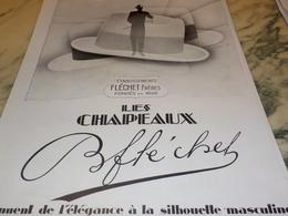 ANCIENNE PUBLICITE SILHOUETTE MASCULINE CHAPEAU FLECHET  1928 - Habits & Linge D'époque