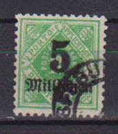 GERMANIA ANTICHI STATI WURTTEMBERG 1923 SERVIZIO CIFRA AL CENTRO SOPRASTAMPATI UNIF.173  USATO VF - Wurtemberg