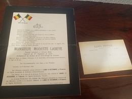 FART PART DECES MODESTE LABEYE ARMEE BELGE  CAPORAL AU 4EME REGIMENT DE LIGNE MORT EN BRAVE AU CHAMPS D'HONNEUR 27/8/18 - Décès