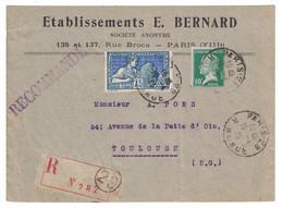 1925 - LETTRE RECOMMANDÉE AFFRANCHIE À 85c Avec PASTEUR 170 + EXPO ARTS DECORATIFS 214 ENTETE BERNARD PARIS Pr TOULOUSE - Marcofilia (sobres)