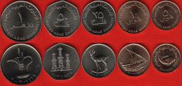 United Arab Emirates Set Of 5 Coins: 5 Fils - 1 Dirham UNC - Emirats Arabes Unis