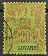 GUYANE 1892 - Canceled - YT 36 - 20c - Guyane Française (1886-1949)