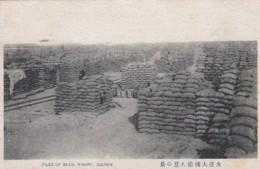 Dalian China, Dairen Port Arthur, Produce At Wharves, Piles Of Beans, C1920s Vintage Postcard - China