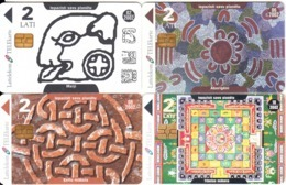 LATVIA - Set Of 4 Cards, Mayan-Aboriginal-Celtic-Tibetan Art, Exp.date 02-06-08-10/02, Used - Telefonkarten