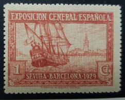 O) 1929 SPAIN, PROOF, SHIFTED COLOR, SANTA MARIA AND VIEW OF SEVILLE, SEVILLE AND BARCELONA EXHIBITION, EDIFIL 434ccp, M - Probe- Und Nachdrucke