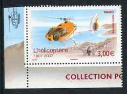"""TIMBRE** Gommé De 2007 En Coin De Feuille Illustré """"3,00 € - Provenant De La Mini-feuille Centenaire De L'Hélicoptère"""" - 1960-.... Nuovi"""