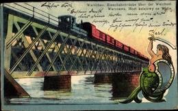 Cp Warszawa Warschau Polen, Eisenbahnbrücke über Die Weichsel, Meerjungfrau - Polonia