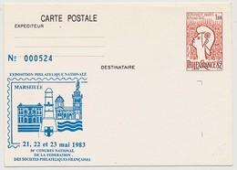 Entier Repiqué - 1,60 Philexfrance82 - Exposition Philatélique Nationale MARSEILLE 1983 (neuve) - AK Mit Aufdruck (vor 1995)