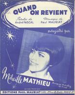 """""""Quand On Revient"""" Enregistré Par Mireille Mathieu - Musique Paul Mauriat - Musik & Instrumente"""